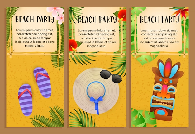 Beach-party-schriftzüge, tribal-maske, flip-flops, strandhut