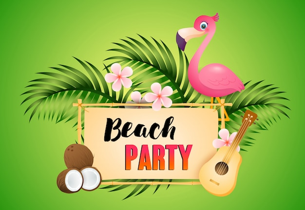 Beach party schriftzug mit flamingo, ukulele und kokosnuss