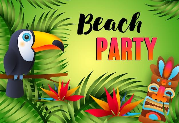 Beach-party-schriftzug mit tiki-maske, exotischem vogel und blumen