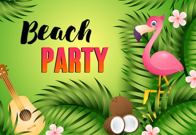 Beach party schriftzug mit ukulele, flamingo und kokosnuss