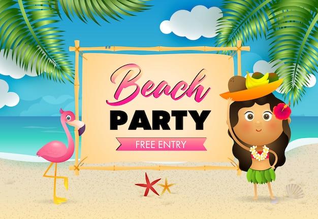 Beach party schriftzug mit ureinwohnerin und flamingo am strand