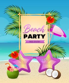 Beach-party-schriftzug, sternförmige sonnenbrille, kokos-cocktail