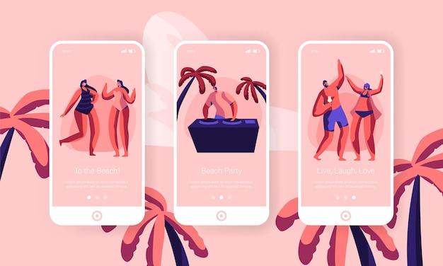 Beach party sommerferien event mobile app seite onboard screen set. tropical club dj spielen musik für heiße leute im freien. character dance website oder webseite. flache karikatur-vektor-illustration