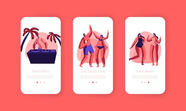 Beach party sonnenuntergang urlaub rave mobile app seite onboard screen set. tropical club dj spielen musik für menschen outdoor summer event. character dance website oder webseite. flache karikatur-vektor-illustration