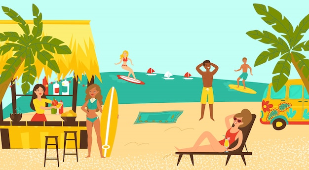 Beach party surf coastal, weibliche männliche figur, die tropische küstenkarikaturillustration surft. cocktailbar am strand.