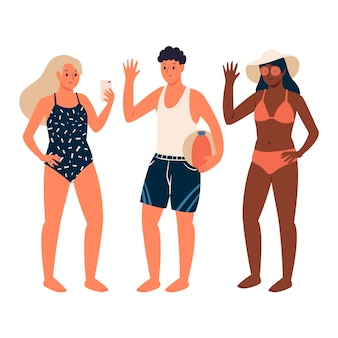 Beach people illustration sammlung