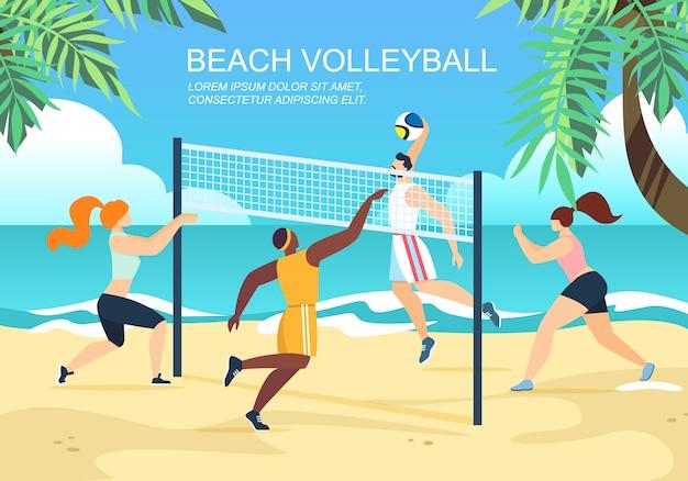 Beach-volleyball-horizontale fahne mit gemischtrassigem team-wettbewerb