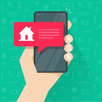 Beachten sie die info-nachricht von der smart home-automatisierungssteuerung auf dem bildschirm der handy-handy-app
