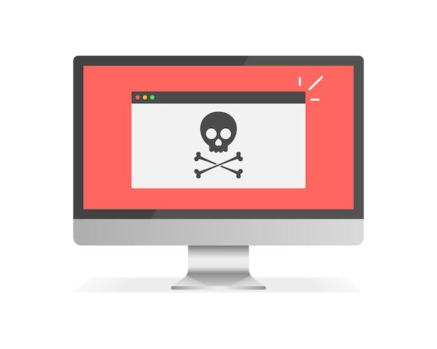 Beachten sie die warnmeldung auf dem desktop-computer. spam-daten auf dem pc-display. virenmeldung