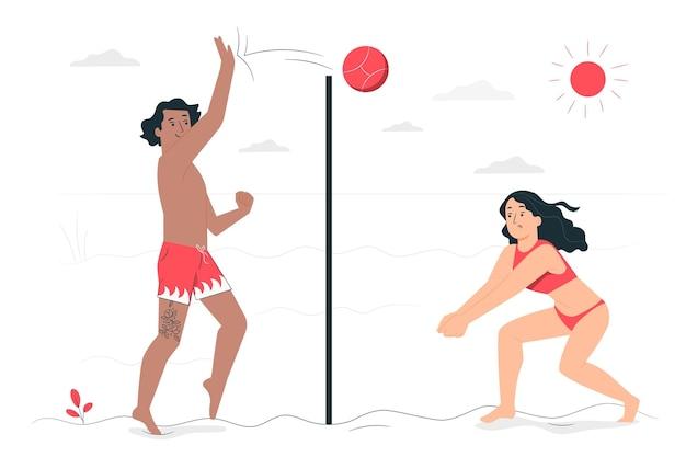 Beachvolleyball-konzeptillustration