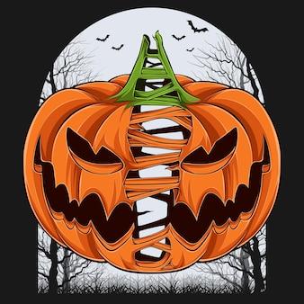 Beängstigend geteilter halloween-kürbis in zwei kürbisse mit bäumen und fledermäusen im hintergrund