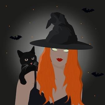 Beängstigende junge frau im hexenhut, die auf dem dunklen hintergrund heraufbeschwört. halloween-party-kunstdesign.