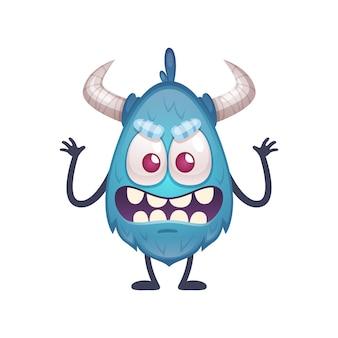 Beängstigende kleine blaue monsterkarikaturillustration