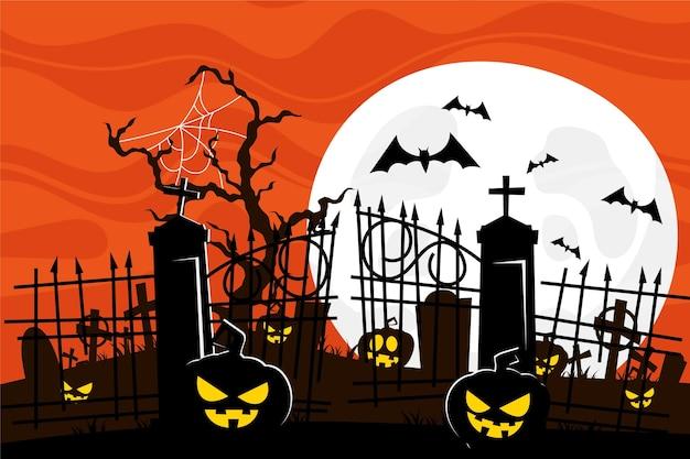 Beängstigende kürbisse im halloween-hintergrund des friedhofs