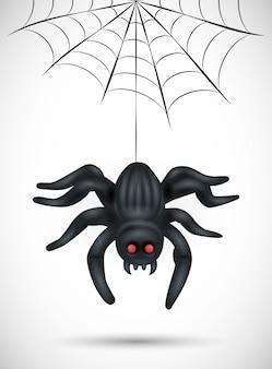 Beängstigende spinne auf weißem hintergrund. geeignet für halloween hintergrund, poster, banner und flyer