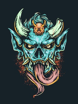 Beängstigender dämonenkopf