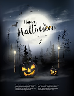 Beängstigender halloween-hintergrund mit kürbissen und mond.