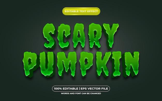 Beängstigender kürbis-bearbeitbarer textstileffekt, der für halloween-event-thema geeignet ist