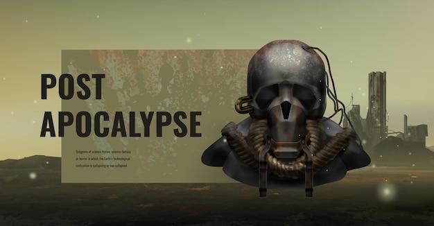 Beängstigender postapokalyptischer charakter mit gasmaske