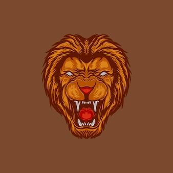 Beängstigender wütender löwenkopf