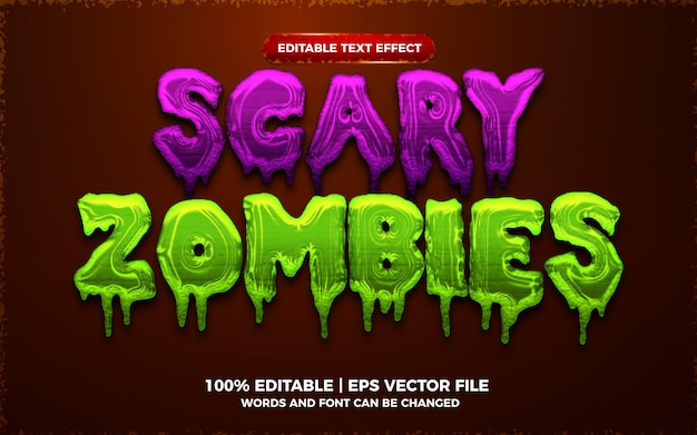 Beängstigender zombie 3d bearbeitbarer texteffekt