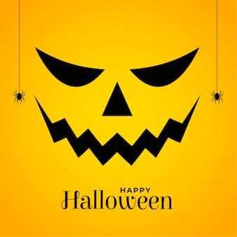 Beängstigendes halloween-kürbisgesicht auf gelbem hintergrund