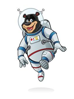 Bear astronauten sprang wie auf dem mond und lächelte glücklich