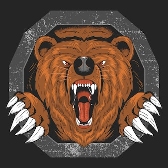 Bear grizzly angry head vector artwork