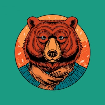 Bear illustration mit herbstausstattung