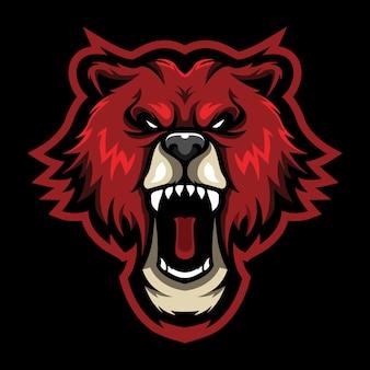 Bear roar esport logo illustration