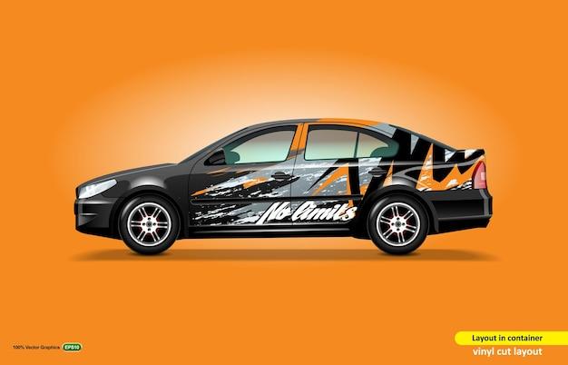 Bearbeitbare aufklebervorlage für limousine auf einem schwarzen auto.