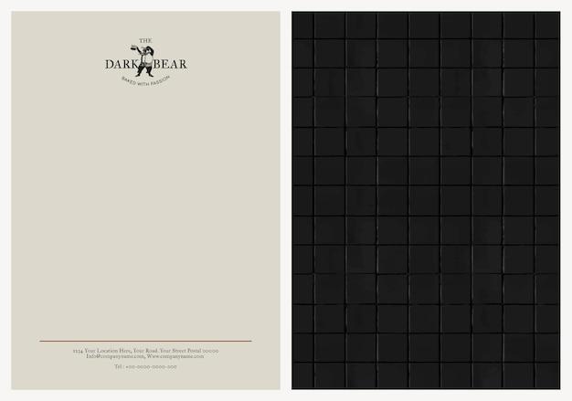 Bearbeitbare briefkopfvorlage corporate identity design für café