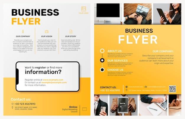 Bearbeitbare business-flyer-vorlage im gelben modernen design