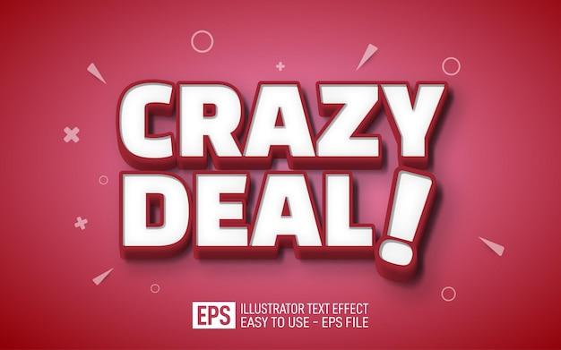 Bearbeitbare effektvorlage für crazy deal 3d-text