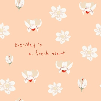 Bearbeitbare florale ästhetische vorlage für social-media-beiträge mit inspirierendem zitat