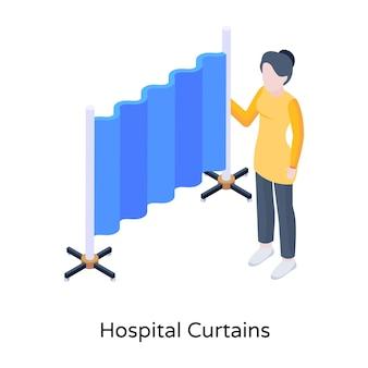 Bearbeitbare illustrationen für krankenhausvorhänge herunterladen