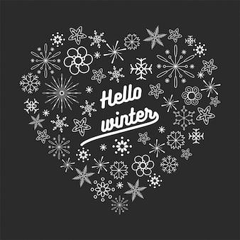 Bearbeitbare kontur der schneeflocke in der herzform für weihnachten