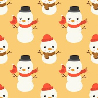 Bearbeitbare linie detail des schneemanns, nahtloses musterthema des weihnachten, für gebrauch als tapete