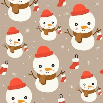 Bearbeitbare linie detail des schneemanns, weihnachtsnahtloses musterthema, für tapete verpackung pape