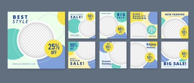 Bearbeitbare minimale quadratische banner-vorlage. geeignet für social media post und web ads. blau