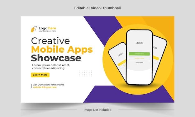 Bearbeitbare mobile apps präsentieren das youtube-thumbnail-design für alle videos