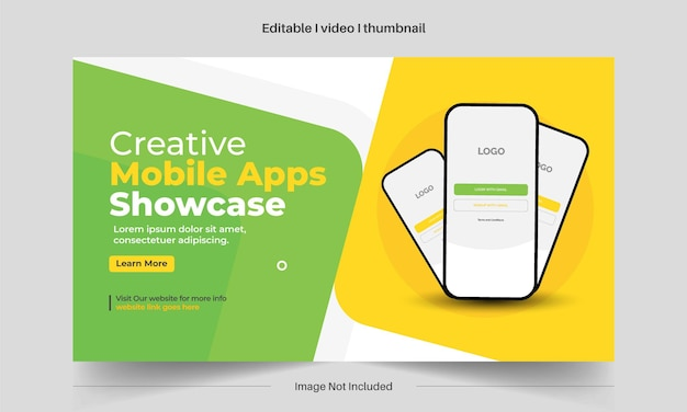 Bearbeitbare mobile apps präsentieren thumbnail-design für alle videos