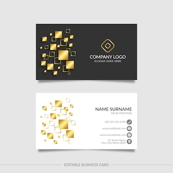 Bearbeitbare moderne goldene visitenkarte mit abstrakten formen