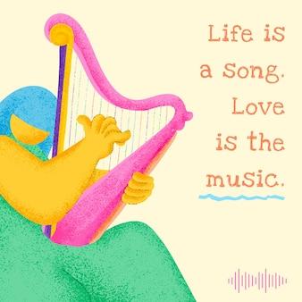Bearbeitbare musikervorlage mit inspirierendem musikzitat-social-media-post