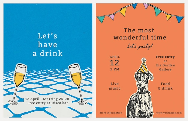 Bearbeitbare party-flyer-vorlage mit zitat-set, remixed aus kunstwerken von moriz jung