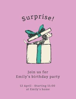 Bearbeitbare party-flyer-vorlage mit zitat, überraschung!