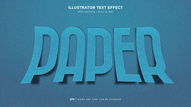 Bearbeitbare schriftart mit blauem papiertexteffekt
