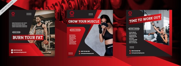 Bearbeitbare set-square-banner-vorlage fitnessstudio & fitness instagram social media post-promotion-vorlage