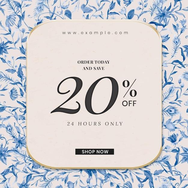 Bearbeitbare shop-anzeigenvorlage mit aquarell pfauen und blumen illustration mit 20% rabatt auf text