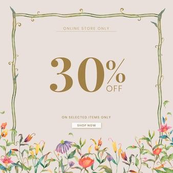 Bearbeitbare shop-anzeigenvorlage mit aquarell pfauen und blumen illustration mit 30 % rabatt auf text